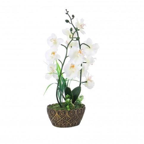 Floare artificiala JYH-3370, orhidee alb, 42 cm