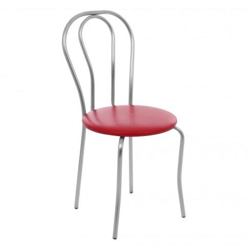 Scaun bucatarie / living fix Tulipan, tapitat, metal gri + imitatie piele rosie, 2C