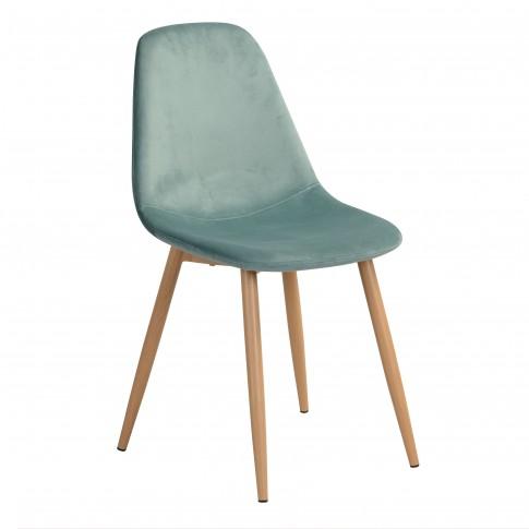 Scaun bucatarie / living fix Charlton, tapitat, otel stejar + material textil albastru