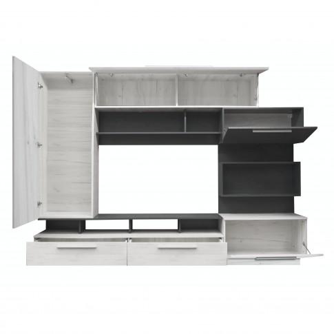 Biblioteca living Nordic, gri A480 + gri inchis, 260 cm, 5C