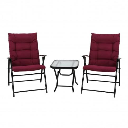 Set masa patrata, plianta, cu 2 scaune pliante, pentru gradina Relax 11M 44481B, din metal, cu blat sticla