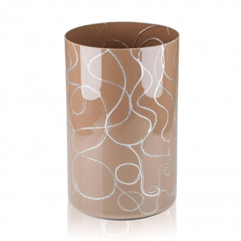 Vaza sticla decorativa, tip cilindru, Bella 2012/BEL, maro + argintiu, 20 x 12 cm
