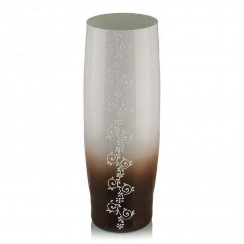 Vaza sticla decorativa, Grace J/17, alb + maro, 30 x 13 cm
