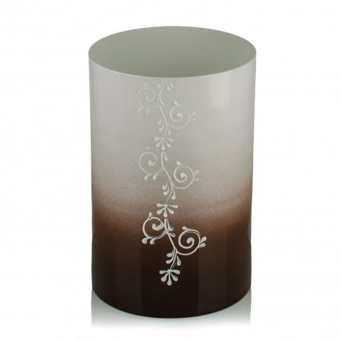 Vaza sticla decorativa, tip cilindru, Grace 2012/17, alb + maro, 20 x 12 cm