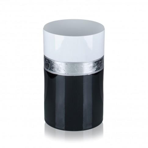 Vaza sticla decorativa, tip cilindru, Royal 2012/ROY, negru + alb + argintiu, 20 x 12 cm
