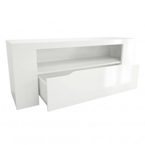 Comoda TV cu sertar Orlando 0147BATVC, alba, 117.5 x 36 x 48 cm, 1C
