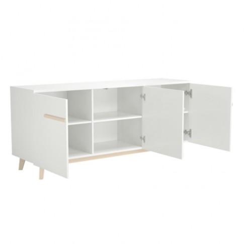 Bufet living cu 3 usi Naiss 0114E3PNK, alb + natur, 180 x 50 x 80 cm, 3C
