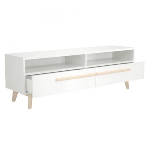 Comoda TV cu sertare Naiss 0114BA2TK, alb + natur, 150 x 40 x 50 cm, 2C