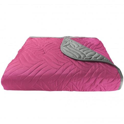 Cuvertura de pat + fete de perna, poliester, 210 x 250 cm, gri / fucsia