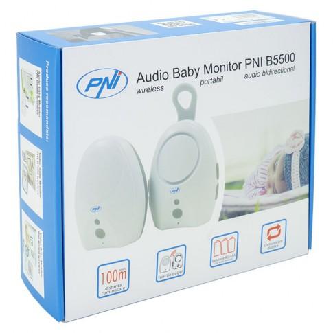 Baby monitor audio PNI B5500, alimentare baterii, acoperire 100 m, comunicare bidirectionala, functie Vox si Pager, alerta iesire din raza de acoperire