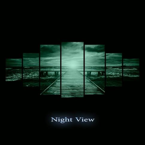 Tablou canvas, dualview, pe panza,7MULTICANVAS154, Lumina de la capat, pe panza, 7 piese,100 x 240 cm