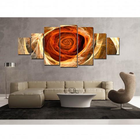 Tablou canvas, dualview, pe panza, 7MULTICANVAS157, Trandafir, 7 piese, 100 x 240 cm