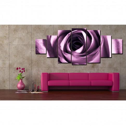 Tablou canvas, dualview, pe panza, 7MULTICANVAS158, Trandafir violet, 7 piese, 100 x 240 cm