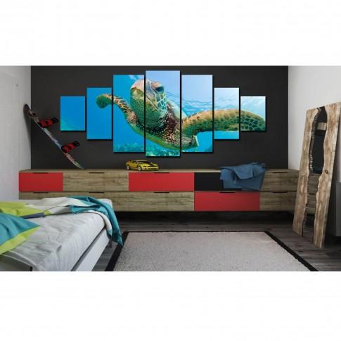 Tablou canvas, dualview, pe panza, 7MULTICANVAS159, Testoasa, pe panza, 7 piese, 100 x 240 cm