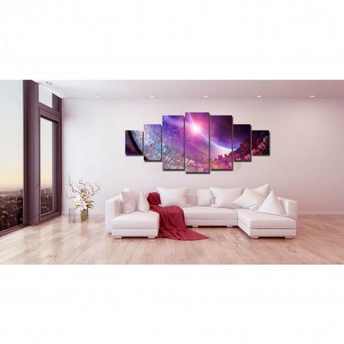 Tablou canvas, dualview, pe panza, 7MULTICANVAS160, Abstract violet, 7 piese, 100 x 240 cm