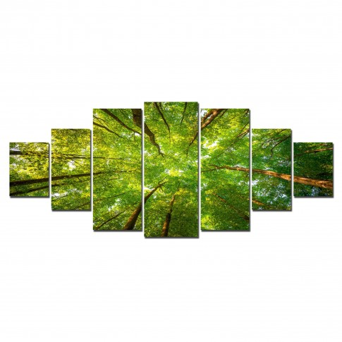 Tablou canvas, dualview, pe panza, 7MULTICANVAS165, Varfuri de copaci, 7 piese, 100 x 240 cm