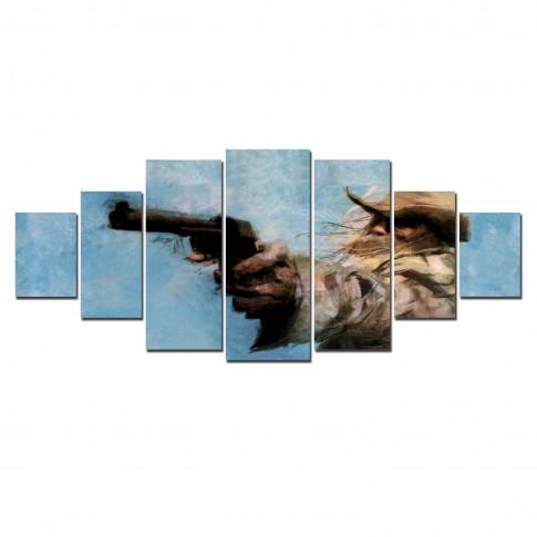 Tablou canvas, dualview, pe panza, 7MULTICANVAS167, Om cu revolver, 7 piese, 100 x 240 cm
