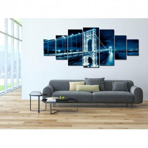 Tablou canvas, dualview, pe panza, 7MULTICANVAS169, Pod albastru, 7 piese, 100 x 240 cm