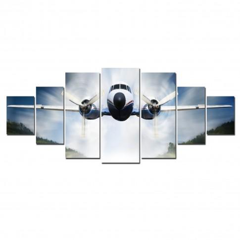 Tablou canvas, dualview, pe panza, 7MULTICANVAS173, Aterizare, 7 piese, 100 x 240 cm