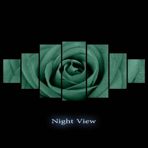 Tablou canvas, dualview, pe panza, 7MULTICANVAS176, Trandafir multicolor, 7 piese, 100 x 240 cm