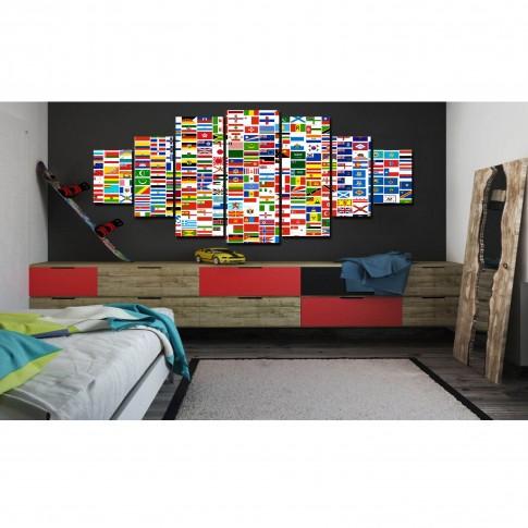 Tablou canvas, dualview, pe panza, 7MULTICANVAS179, O lume de steaguri, 7 piese, 100 x 240 cm