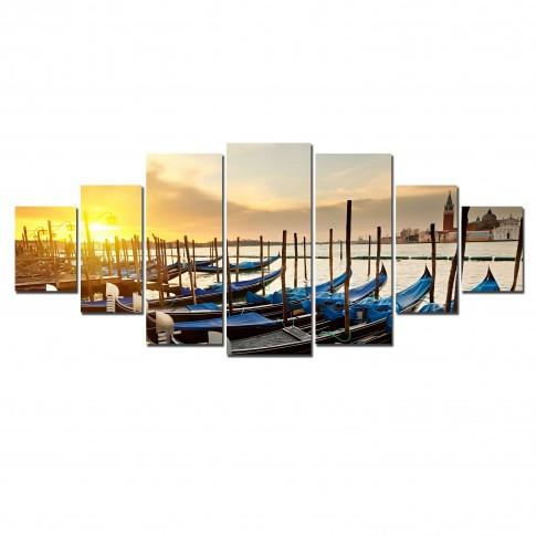 Tablou canvas, dualview, pe panza, 7MULTICANVAS190, Gondole, 7 piese, 100 x 240 cm
