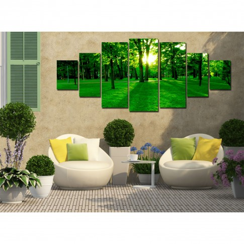 Tablou canvas, dualview, pe panza, 7MULTICANVAS191, Padurea verde, 7 piese, 100 x 240 cm