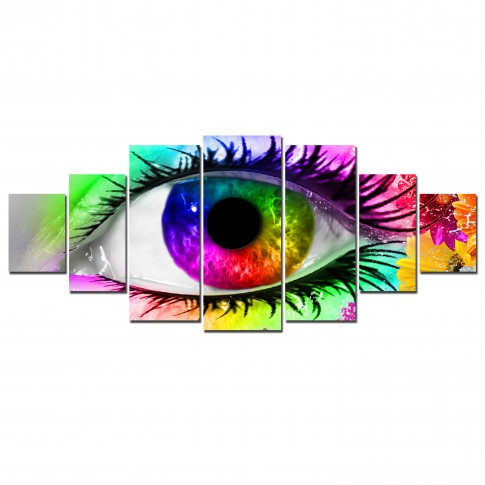 Tablou canvas, dualview, pe panza, 7MULTICANVAS192, Ochi multicolor, 7 piese, 100 x 240 cm