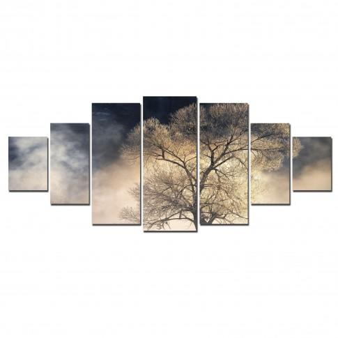 Tablou canvas, dualview, pe panza, 7MULTICANVAS193, Copac misterios, 7 piese, 100 x 240 cm