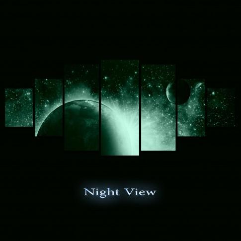 Tablou canvas, dualview, pe panza, 7MULTICANVAS199, Cosmos, 7 piese, 100 x 240 cm