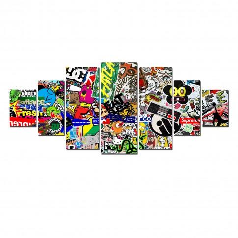 Tablou dualview 7MULTICANVAS107, 7 piese, Bomb Sticker, canvas + lemn de brad