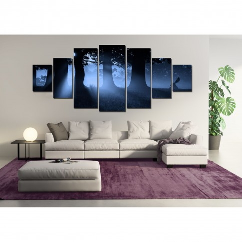 Tablou dualview 7MULTICANVAS109, 7 piese, Padurea albastra, canvas + lemn de brad