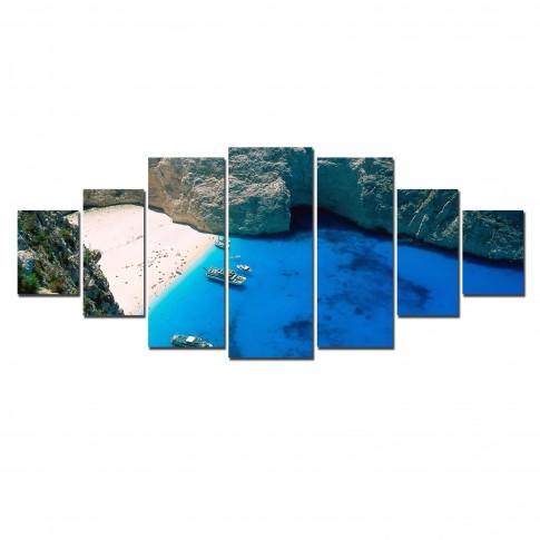 Tablou dualview 7MULTICANVAS113, 7 piese, Zakinthos, canvas + lemn de brad