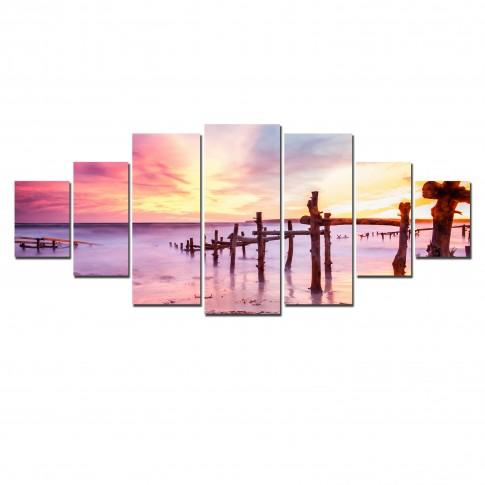 Tablou dualview 7MULTICANVAS114, 7 piese, Apus roz, canvas + lemn de brad