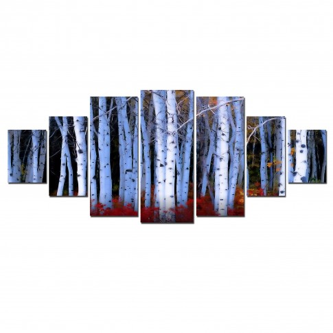 Tablou dualview 7MULTICANVAS121, 7 piese, Padure de mesteceni, canvas + lemn de brad