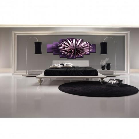 Tablou dualview 7MULTICANVAS123, 7 piese, Floare violet, canvas + lemn de brad