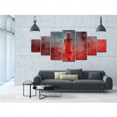 Tablou dualview 7MULTICANVAS126, 7 piese, Silueta cosmica, canvas + lemn de brad