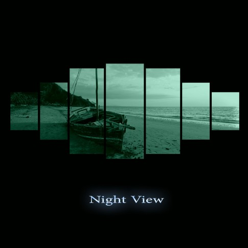 Tablou dualview 7MULTICANVAS131, 7 piese, Barca pe plaja la apus, canvas + lemn de brad