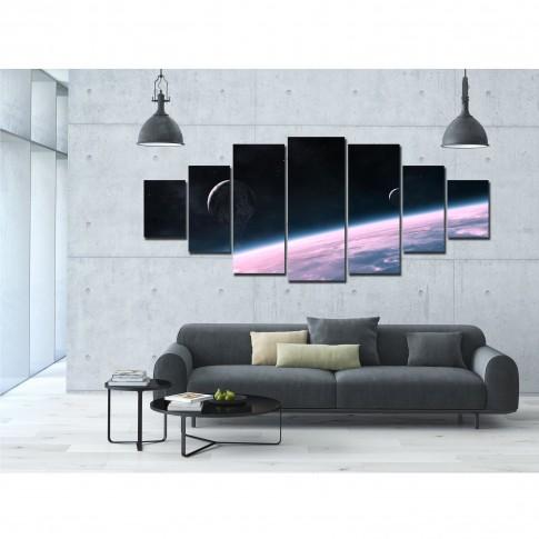 Tablou dualview 7MULTICANVAS135, 7 piese, Univers violet, canvas + lemn de brad