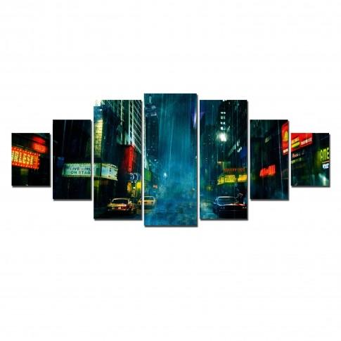 Tablou dualview 7MULTICANVAS139, 7 piese, Orasul in ploaie, canvas + lemn de brad