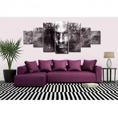 Tablou dualview 7MULTICANVAS146, 7 piese, Portret de barbat, canvas + lemn de brad