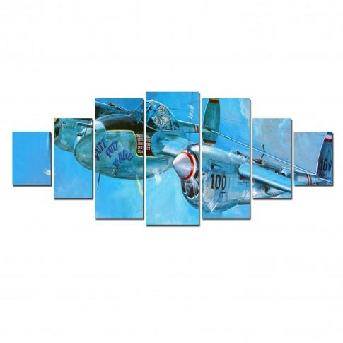 Tablou dualview 7MULTICANVAS148, 7 piese, Avion, canvas + lemn de brad