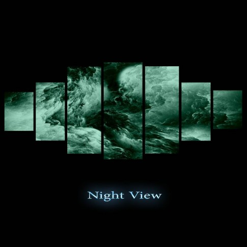 Tablou dualview 7MULTICANVAS151, 7 piese, Violet abstract, canvas + lemn de brad