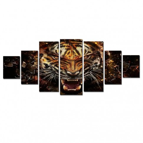 Tablou dualview 7MULTICANVAS153, 7 piese, Tigru puternic, canvas + lemn de brad