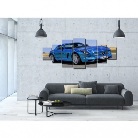 Tablou dualview 7MULTICANVAS157, 7 piese, Masina sport albastra, canvas + lemn de brad