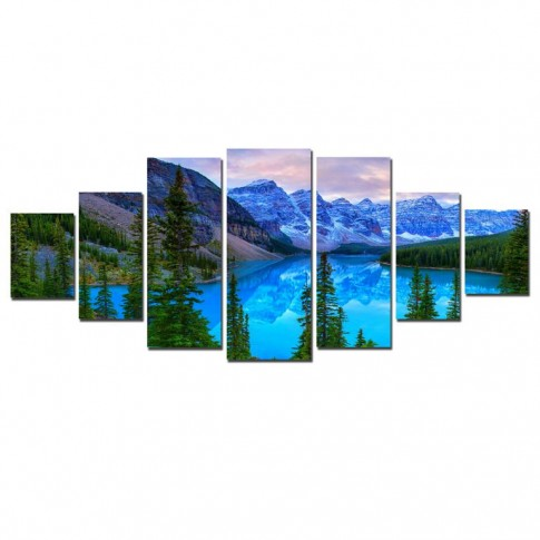 Tablou dualview 7MULTICANVAS158, 7 piese, Peisaj albastru de munte, canvas + lemn de brad