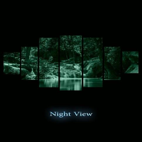 Tablou dualview 7MULTICANVAS070, 7 piese, Frumusetea padurii, canvas + lemn de brad