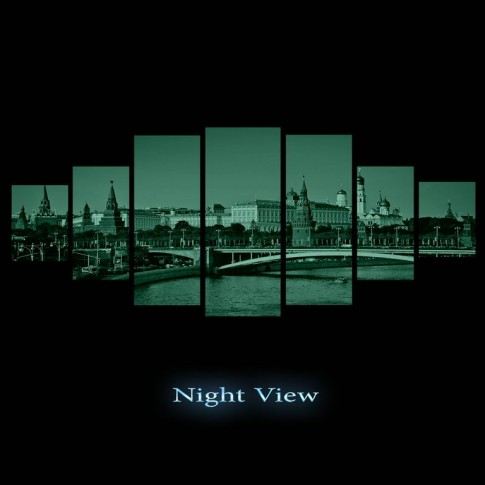 Tablou dualview 7MULTICANVAS071, 7 piese, Kremlin, canvas + lemn de brad
