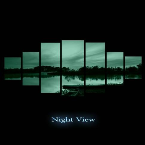 Tablou dualview 7MULTICANVAS072, 7 piese, Apus roz pe lac, canvas + lemn de brad