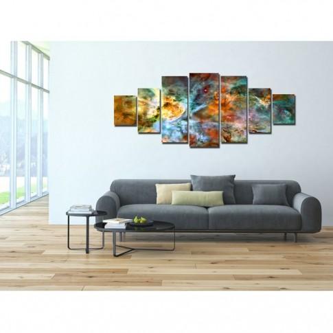 Tablou dualview 7MULTICANVAS078, 7 piese, Nebula din spatiu, canvas + lemn de brad